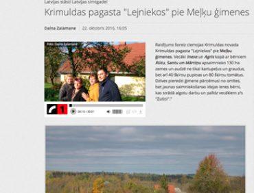 """Latvijas stāsti Latvijas simtgadei ciemojās Krimuldas pagasta """"Lejniekos"""" pie Meļķu ģimenes"""